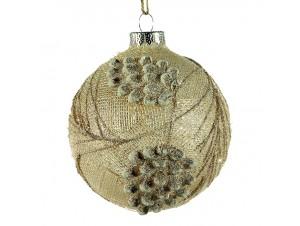 Χριστουγεννιάτικη Μπάλα ανάγλυφη Γυάλινη 10 εκ