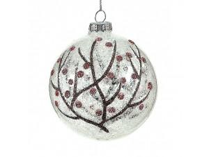 Χριστουγεννιάτικη Μπάλα  με δέντρο Γυάλινη 8 εκ