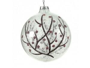 Χριστουγεννιάτικη Μπάλα διάφανη με δέντρο Γυάλινη 10 εκ