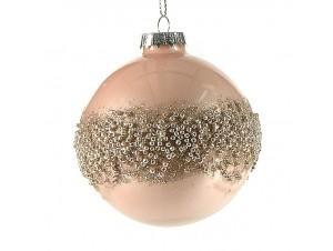 Χριστουγεννιάτικη Μπάλα Ροζ Γυάλινη 8 εκ