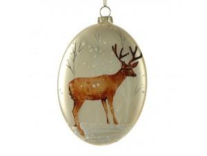 Χριστουγεννιάτικη Μπάλα Γυάλινη με τάρανδο 14 εκ.