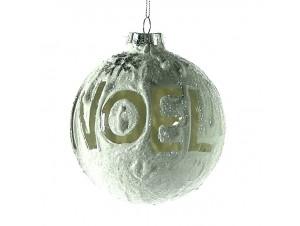 Χριστουγεννιάτικη άσπρη Μπάλα χιονισμένη Γυάλινη 10 εκ