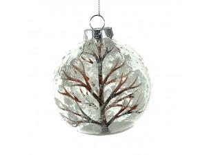 Χριστουγεννιάτικη Μπάλα διάφανη με δέντρο Γυάλινη 9 εκ