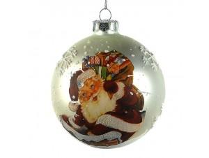 Χριστουγεννιάτικη Μπάλα με Αγιο Βασίλη Γυάλινη 8 εκ
