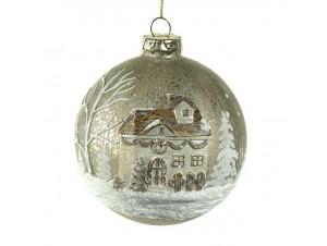 Μπεζ Χριστουγεννιάτικη Μπάλα με παράσταση 10 εκ