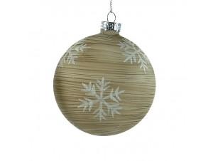 Χριστουγεννιάτικη Μπάλα με νιφάδες Γυάλινη 8 εκ