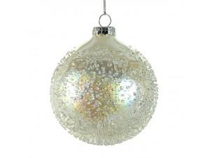 Χριστουγεννιάτικη Μπάλα κρεμ Γυάλινη 8 εκ