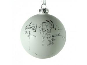 Χριστουγεννιάτικη Μπάλα με Χιονάνθρωπο Γυάλινη 8 εκ
