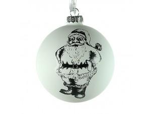 Χριστουγεννιάτικη Μπάλα με Άγιο Βασίλη Γυάλινη 8 εκ
