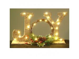 Χριστουγεννιάτικο ξύλινο φωτιζόμενο JOY 25 εκ.