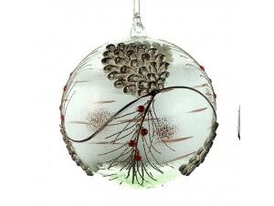 Χριστουγεννιάτικη Μπάλα με κουκουνάρια Γυάλινη 15 εκ