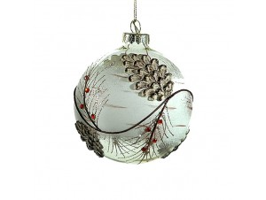 Χριστουγεννιάτικη Μπάλα με κουκουνάρια Γυάλινη 10 εκ