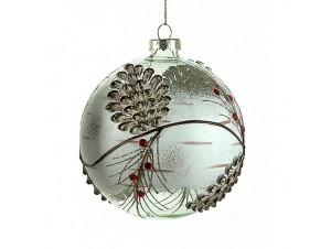 Χριστουγεννιάτικη Μπάλα με κουκουνάρια Γυάλινη 12 εκ