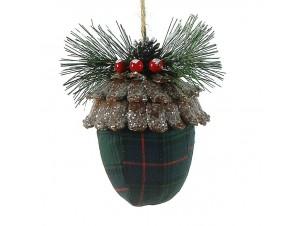 Χριστουγεννιάτικη Μπάλα με ύφασμα 12 εκ