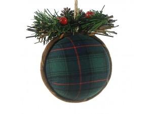 Χριστουγεννιάτικη Μπάλα με ύφασμα 13 εκ