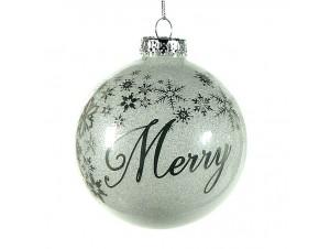 Χριστουγεννιάτικη Μπάλα με ευχή Γυάλινη 10 εκ