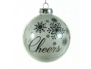 Χριστουγεννιάτικη Μπάλα μ ευχή Γυάλινη 10 εκ
