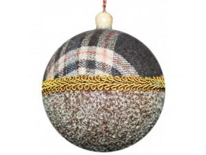 Χριστουγεννιάτικη υφασμάτινη μπάλα 8 εκ.
