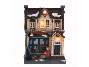 Χριστουγεννιάτικο φωτιζόμενο διακοσμητικό Σπιτάκι 15x 9x20 εκ.