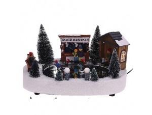 Χριστουγεννιάτικο φωτιζόμενο διακοσμητικό παγοδρόμιο 30x10x17 εκ.