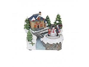 Χριστουγεννιάτικο σπιτάκι φωτιζόμενο 19x16,5x15 εκ