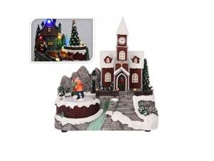 Χριστουγεννιάτικο σπιτάκι φωτιζόμενο 18x10x15 εκ.