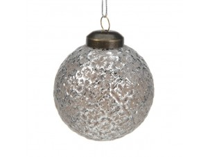 Χριστουγεννιάτικη Μπάλα Ασημί Γυάλινη 6 εκ.