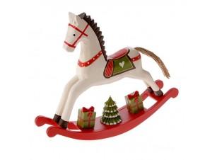 Χριστουγεννιάτικο Διακοσμητικό Κουνιστό Αλογάκι 28 x 6 x 25 εκ.