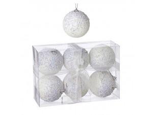 Σετ 6 τεμ. Χριστουγεννιάτικες άσπρες μπάλες 8 εκ.