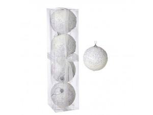 Σετ 4 τεμ. Χριστουγεννιάτικες άσπρες μπάλες 10 εκ.