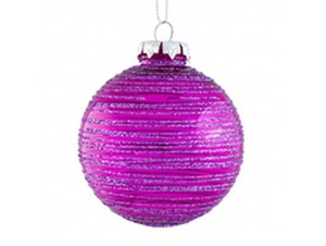 SET 6 τεμ. Χριστουγεννιάτικες γυάλινες φουξ μπάλες 8 εκ.