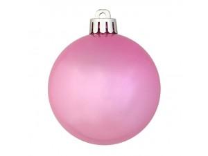 SET 6 τεμ. Χριστουγεννιάτικες πλαστικές ροζ μπάλες 8 εκ.