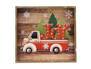 Χριστουγεννιάτικη ξύλινη φωτιζόμενη επιγραφή 37x34 εκ.