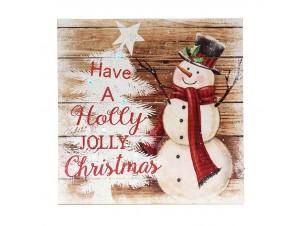 Χριστουγεννιάτικη ξύλινη φωτιζόμενη επιγραφή 27x27 εκ.