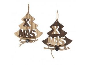 Σετ 2 τεμ. Χριστουγεννιάτικο Οικολογικό Ξύλινο Στολίδι 12 εκ
