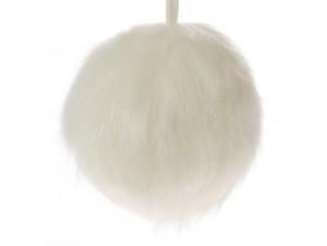 Χριστουγεννιάτικη μπάλα γούνα κρεμ 12 εκ.