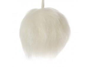 Χριστουγεννιάτικη μπάλα γούνα κρεμ 10 εκ.