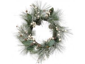 Χριστουγεννιάτικο στεφάνι με κουκουνάρια και μπιλάκια 53 εκ