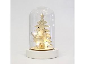 Χριστουγεννιάτικο Διακοσμητικό Γυάλινο Φωτιζόμενο με Τάρανδο 10x10x15 εκ.