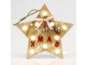 Χριστουγεννιάτικο ξύλινο φωτιζόμενο Αστέρι XMAS