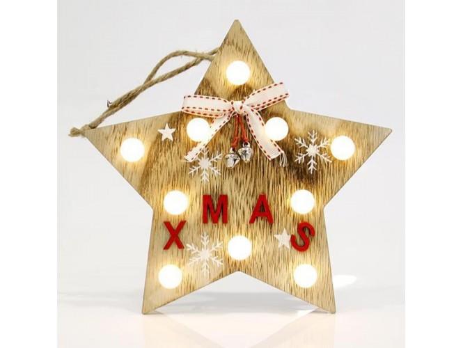 c64dc56fb9a4 Χριστουγεννιάτικο ξύλινο φωτιζόμενο Αστέρι XMAS