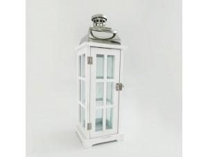 Διακοσμητικό Λευκό Ξύλινο Φανάρι- Κηροπήγιο 15Χ15Χ45,5 εκ.