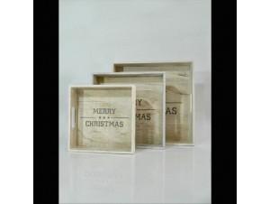 Σετ 3 τμχ. Χριστουγεννιάτικοι ξύλινοι δίσκοι