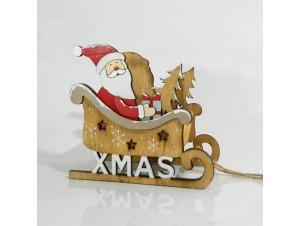 Χριστουγεννιάτικο Διακοσμητικό Έλκηθρο με Άγιο Βασίλη 7Χ9,5Χ16 εκ.