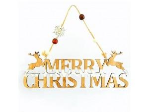 Χριστουγεννιάτικο Κρεμαστό Ξύλινο Διακοσμητικό MERRY CHRISTMAS 29X10 εκ.