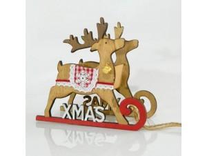 Χριστουγεννιάτικο Διακοσμητικό Έλκηθρο με Ταράνδους 18Χ14 εκ.