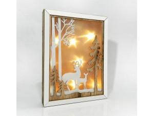 Χριστουγεννιάτικο Διακοσμητικό Ξύλινο Φωτιζόμενο Κάδρο 22x4x28 εκ.