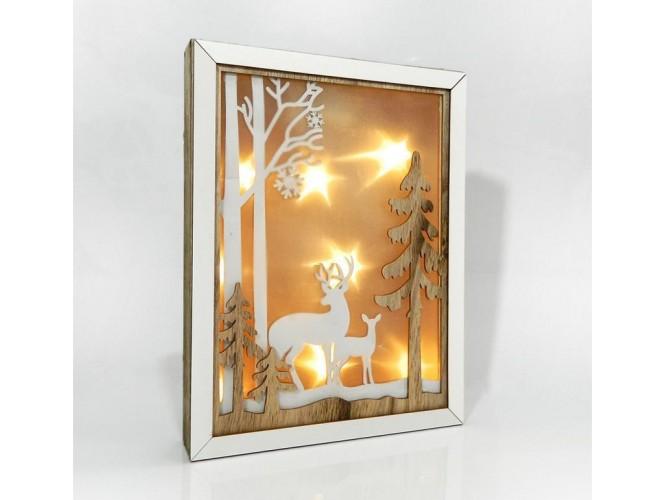 6a9786ae9c0e Χριστουγεννιάτικο Διακοσμητικό Ξύλινο Φωτιζόμενο Κάδρο 22x4x28 εκ.