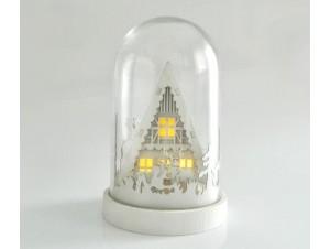 Χριστουγεννιάτικο σπιτάκι φωτιζόμενο σε γυάλα 13x21 εκ.