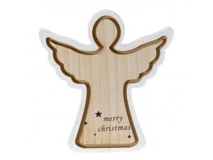 Χριστουγεννιάτικο διακοσμητικό ξύλινο Άγγελος 22x22 εκ.